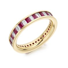 Ruby & Baguette Cut Channel Set Full Eternity Ring 2.35ct
