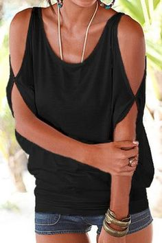Black Scoop Neck Cold Shoulder Tie-up at Back Tee