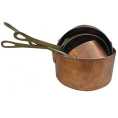 Vintage French Copper Sauce Pans Set of 4 ($399) ❤ liked on Polyvore featuring home, kitchen & dining, cookware, copper saucepan, copper cookware and copper sauce pan