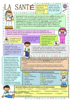 La santé French Language Lessons, French Language Learning, French Lessons, French Tips, Foreign Language, French Flashcards, French Worksheets, French Expressions, French Teaching Resources