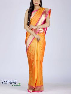 YELLOW SILK SAREE WITH RESHAM WORK