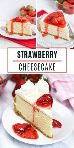 Strawberry Cheesecake Strawberry Cheesecake is a hit! This spring season food has a buttery graham cracker crust, a creamy cheesecake filling, a sweet and tangy sour cream topping, finished with a fresh strawberry sauce. Strawberry Cheesecake Recipe Easy, Banana Pudding Cheesecake, Easy Cheesecake Recipes, Strawberry Recipes, Brownie Recipes, Cookie Recipes, Strawberry Sauce, Pudding Cake, Cake Toppers