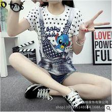 Caliente venta para mujer verano Harajuku camiseta de animación de dibujos animados imprimir Loose Women camiseta manga corta camisetas para mujer Tops(China (Mainland))