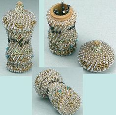 Unusual Antique Beaded Pin Case * English * Circa 1870