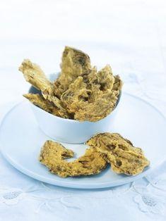 Artichoke crisps with curry and herbs Pesto, Curry, Veggie Chips, Little Bites, Artichoke, Grain Free, Crisp, Cereal, Veggies