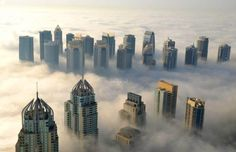 View of Dubai above clouds