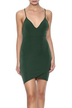 Olive bodycon mini dress with a deep v-neckline, faux wrap front and crisscross spaghetti straps.   Olive Mini Dress by Lovely Day. Clothing - Dresses - Casual New York City Manhattan, New York City