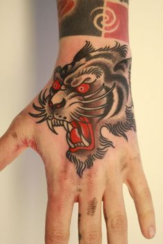 tattoo old school / traditional ink - tiger (by Chriss Dettmer):