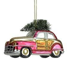 Pink Car with Christmas Tree Blown Glass Ornament - IN STOCK IN GREENWICH, CT FOR QUICK SHIPPING