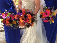 Vibrant bouquets with peacock feathers