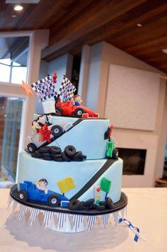 Race Car themed birthday party via Kara's Party Ideas | Cake, decor, cupcakes, games and more! KarasPartyIdeas.com #racecarparty #partyideas #carparty (7) | Kara's Party Ideas