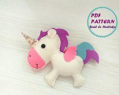 Unicorn pattern PDF tutorial felt Unicorn horn sewing tutorial Unicorn DIY felt ornament unicorn Sewing tutorial felt unicorn baby mobile