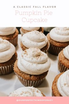 A Classic fall flavor in cupcake form. A pumpkin pie cupcake with a graham cracker frosting. Perfect for your fall parties, Thanksgiving, Christmas or everything in between. A made from scratch recipe that will be a pary pleasing dessert. Pumpkin Pie Cupcakes, Baking Cupcakes, Pumpkin Dessert, Yummy Cupcakes, Brownie Recipes, Cupcake Recipes, Cookie Recipes, Dessert Recipes, Dessert Ideas