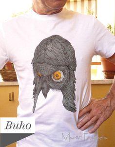 T-shirt dipinta a mano Guffo di Mar&Vi su DaWanda.com