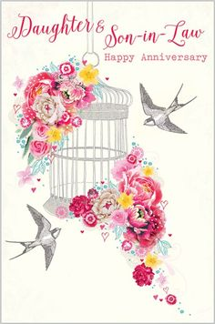 Card Ranges » 7394 » Daughter & Son-in-Law Anniversary - Love Birds - Abacus Cards - Greetings Cards, Gift Wrap & Stationery