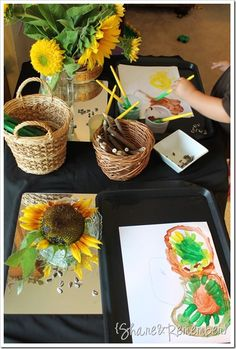 Preschool Art Study: Painting Sunflowers