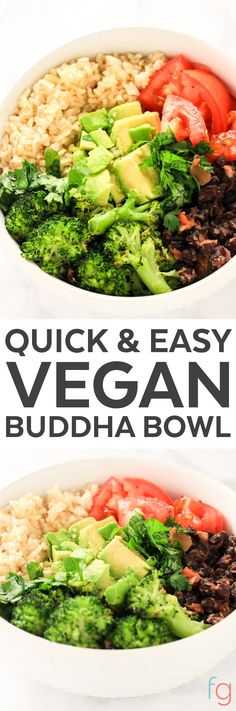Easy Buddha Bowl Vegan - Vegan Buddha Bowl Recipe - Buddha Bowl Vegetarian - Burrito Bowl Healthy - Quick and Easy Dinner - Plant Based Diet for Beginners - 10 Minute Meals Healthy (Vegan Recipes Meal Prep) Buddha Bowl Vegetarian, Vegetarian Burrito, Healthy Recipes, Whole Food Recipes, Vegetarian Recipes, Healthy Breakfasts, Diet Recipes, Diet Meals, Vegan Vegetarian