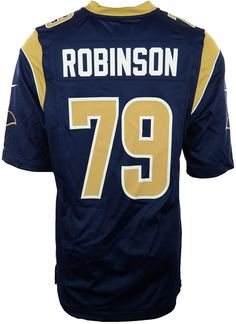 The men's Nike NFL Game jersey will be the only one you choose to wear while you cheer on your Los Angeles Rams. The jersey is inspired by what Greg Robinson wears on the field and designed for movement and a light soft feel. V-neckline with TPU shield at collar Pullover style Short sleeves Screen print graphics Woven jock tag at hem Tailored fit Officially licensed NFL product Nike on-field apparel Polyester Machine washable