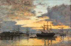 Bordeaux In the Harbor by Eugene Louis Boudin Impressionist Landscape, Landscape Paintings, Moon Over Water, Image Fruit, Eugene Boudin, Image Nature, Images Vintage, European Paintings, French Artists