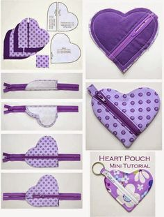 Trousse en coeur - Abd My Site Small Sewing Projects, Sewing Projects For Beginners, Sewing Hacks, Sewing Tutorials, Bag Patterns To Sew, Sewing Patterns, Fabric Crafts, Sewing Crafts, Purse Tutorial