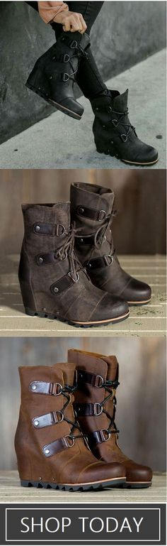 $62.99 USD&Free Shipping! SHOP NOW>> Women's Wedge Mid Waterproof Artificial Leather Boots