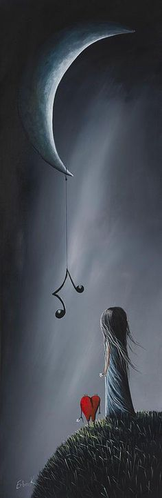 They Feel Your Love Song - Surreal Art By Shawna Erback by Shawna Erback - They Feel Your Love Song - Surreal Art By Shawna Erback Painting - They Feel Your Love Song - Surreal Art By Shawna Erback Fine Art Prints and Posters for Sale Art Noir, Moon Art, Surreal Art, Conceptual Art, Oeuvre D'art, Dark Art, Amazing Art, Awesome, Fantasy Art
