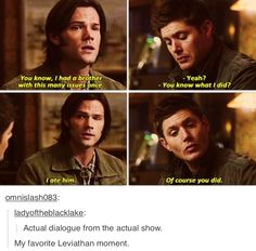 7x06 Slash Fiction--best Leviathan Sam and Dean moment. Omg this show.... I will never understand how they can combine so much heartache with so much hilarity!