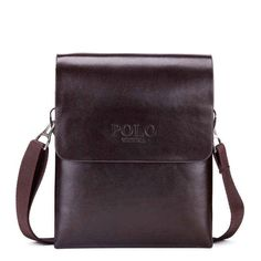 fdb114a6de0 Solid Double Pocket Soft Leather Shoulder Bag. Mens ...