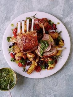 A beautiful roast rack of lamb recipe from Jamie Oliver that shows you the best way to cook a rack of lamb. Bursting with herby favours and juicy tomatoes! Roasted Rack Of Lamb Recipe, Roast Rack Of Lamb, Lamb Rack Recipe, Lamb Recipes, Meat Recipes, Cooking Recipes, Healthy Recipes, Bbq Lamb Chops, Crushed Potatoes
