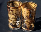 Vintage Old World Map Cera Gold Glasses Tumblers 22k Gold for Cocktails Mojitos Spriters Fun Drinks Sexy Glassware