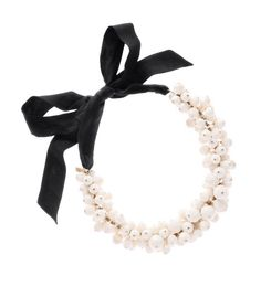 Moschino  White Pearl and Ribbon Necklace