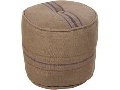 Industrial and rustic, yet, oh so chic. Our sturdy round burlap ottoman is the perfect home accent for casual room interiors. Handmade from recycled jute burlap and features violet blue accent lines a Burlap Ottoman, Jute, Round Ottoman, Green Accents, Farmhouse Chic, Accent Furniture, Furniture Ideas, Rustic Design, Accent Pieces