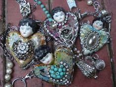 Love these.  We need to go antiquing so we can find things for you to bead with.  Check out this ladies site.  She's a jewelry artist, but this page is filled with other artists she likes.  Good ideas.