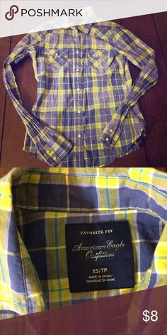 Perfect fit plaid shirt American eagle outfitters size xs perfect fit plaid shirt. Measurements flat across are: chest 15 inches, waist 14 inches length 23 inches and under arm sleeve 20 inches. Vguc American Eagle Outfitters Tops Button Down Shirts