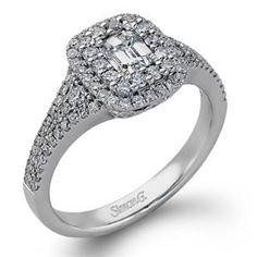 Shop online SIMON G MR2274 Halo 18K - White Gold Diamond Engagement Ring at Arthur's Jewelers. Free Shipping