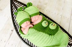 Crochet Newborn 2 Sweet Peas in a Pod Cocoon and Hat by lmelissari, $75.00