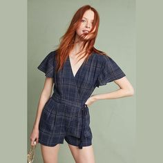 91e52e56289 Anthropologie Greylin Womens Romper Size Medium Navy Blue Rayon Blend Kate  Wrap  fashion  clothing