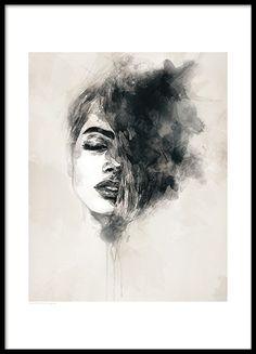 Schönes Poster mit einer Frau als Motiv. Das Original ist ein gemaltes Aquarellbild. Das Motiv ist von einer weißen Linie umschlossen. Modernes und elegantes Poster, das in viele verschiedene Einrichtungsstile passt. www.desenio.de