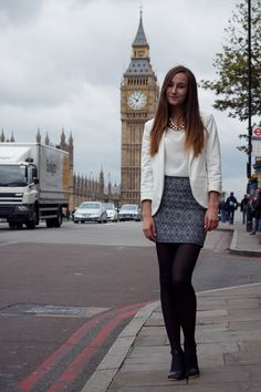 Black sheer pantyhose with open toe shoes, white jacket+top and blue tile print