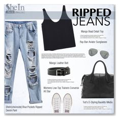 """""""ripped jeans"""" by burcuciz ❤ liked on Polyvore featuring Tod's, MANGO, Converse and Ray-Ban"""