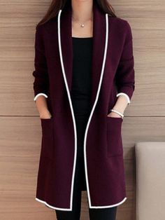 99eb85ffcc Buy Women s Trench Coat Open Front Shawl Collar Pocket Coat   Trench Coats  - at Jolly Chic