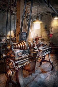 Workshop Art - Machinist - Fire Department Lathe by Mike Savad Antique Tools, Old Tools, Vintage Tools, Vintage Metal, Cnc Woodworking, Woodworking Machinery, Woodworking Projects, Machinist Tools, Wood Lathe