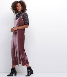 Vestido feminino em veludo sobreposição