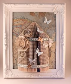 birdcage book folding frame with butterfly and map image with a real key Frame Crafts, Book Crafts, Paper Crafts, Diy Crafts, Folded Book Art, Paper Book, Paper Art, Page Decoration, Altered Book Art