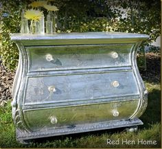 silver foil bombay chest - another faux silver leaf project using aluminum foil and wallpaper paste