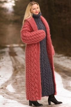 Made to order hand knitted mohair cardigan in pastel red, fuzzy long handcrafted coat by SuperTanya Diy Crochet Sweater, Crochet Coat, Knitted Coat, Hand Knitted Sweaters, Long Sweaters, Knitting Sweaters, Mohair Cardigan, Long Sweater Coat, Sweater Layering