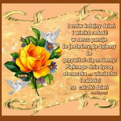Uśmiechu i Radości na Calutki Dzień Życzę - #calutki #Dzień #miechu #na #Radości #Uśmiechu #życzę Stowa, Good Morning Gif, Good Advice, Fruit, Humor, Blessings, Ornament, Roses, Google