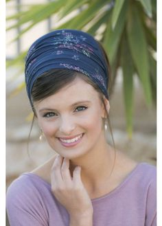 Blue Floral Half Head Covering. More