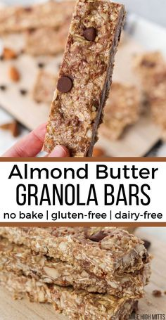 Almond Butter Granola Bars (gluten-free, dairy-free, no bake, refined sugar-free) – Mile High Mitts – kids baking ideas Dairy Free Granola Bars, Vegan Granola Bars, Sugar Free Granola, No Bake Granola Bars, Granola Bar Recipes, Almond Butter Snacks, Homemade Almond Butter, Almond Meal, Almond Recipes