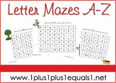 Alphabet Mazes Printables from www.1plus1plus1equals1.net